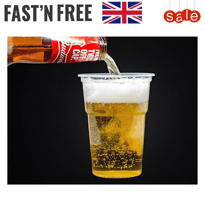 Half Pint Plastic Clear Disposable Beer Glasses/Cups/Tumblers to Use in Parties