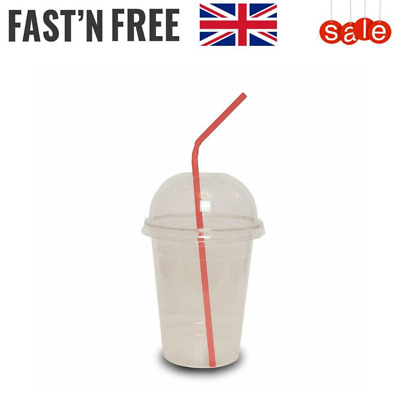 Smoothie Cups With Domed Lid - Disposable Milkshake Juice Slush Party Clear Cups