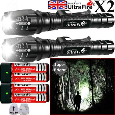 Tactical Military Aluminum 350000LM CREE T6 LED 5Modes Flashlight Zoomable Torch
