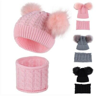 Baby Boys Girl Warm Beanie Hat Scarf Winter Knitted Wool Faux Fur Pom Bobble Hat