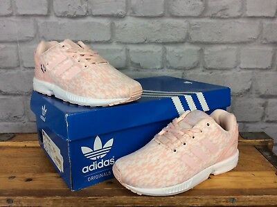 Adidas Uk 13 Eu 31.5 Pale Pink White Zx Flux Woven Trainers Girls Ladies