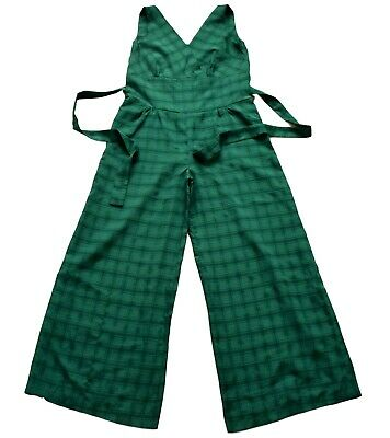 Vintage 70's / 80's Green Check Patterned Wide Leg Jumpsuit Retro Boho 14