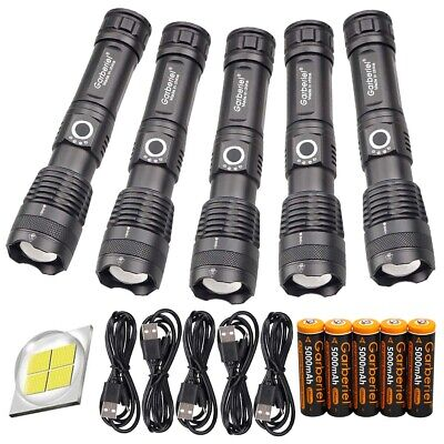 350000LM Zoomable 5Modes XHP50 LED 18650 26650 USB Rechargeable Flashlight Torch