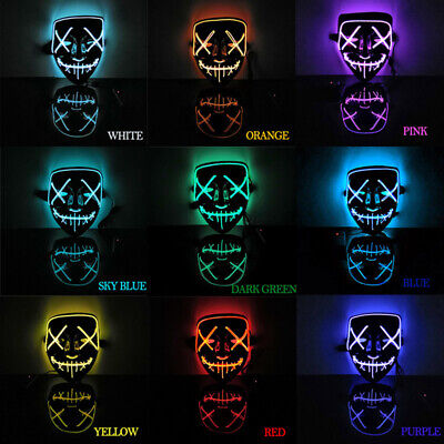 LED Luminous Mask Purge Halloween Party Neon Stitches Wire Light Up Costume Mask