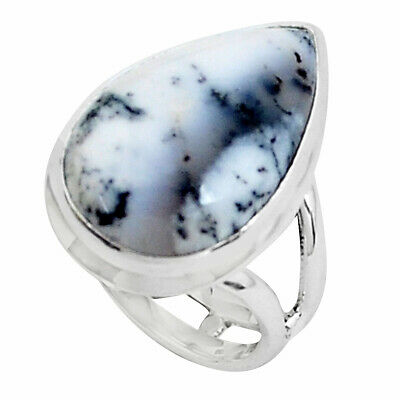 14.42cts Natural White Dendrite Opal 925 Silver Solitaire Ring Size 6.5 P45864