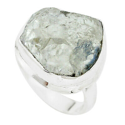 925 Silver 13.36cts Natural White Dumortierite Rough Solitaire Ring Size 9 P6779