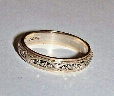 Art Deco 9Ct Gold And Silver Marcasite Eternity Ring Size J