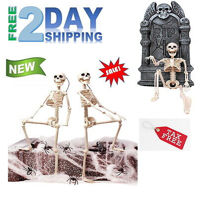"16"" Life Size Jointed Skeleton Halloween Party Props Haunted House Skeleton Deco"