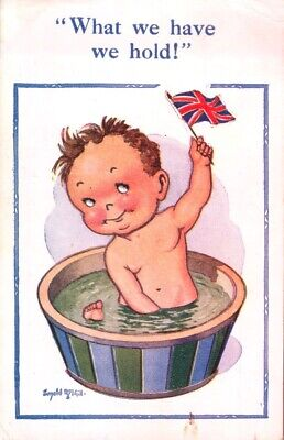 Vintage Donald McGill comic postcard Nude boy in bath what we have We hold