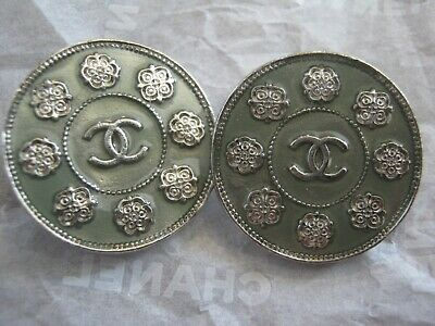 Chanel 2 Vintage Silver Cc Logo Front Green Buttons  22Mm  Camellia Lot 2