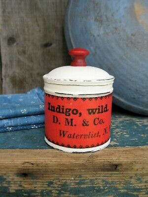 Antique Pantry Tin Red and White Paint Shaker Wild Indigo Label Free Shipping
