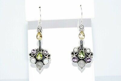 3.72Mm/3.40Ct Natural Multi-Color Mixed Gemstone 7 Stone Dangle Earrings Silver