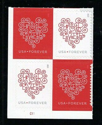 2015 #4955-56 Forever Love Hearts PN blk/4 Mint NH