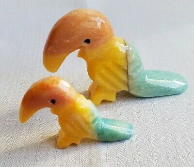Onyx Carved Stone/Marble Mom and Baby Toucan Figurines Pastel Colors Set of 2.