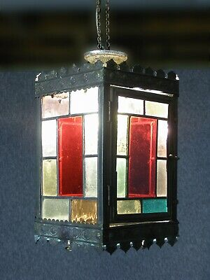 Antique Victorian Stained Glass Hall lantern Free UK Postage