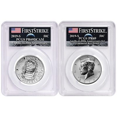 2019-S 50c Apollo 11 50th Ann. Half Dollar 2pc. Set PCGS PR69 FS Apollo Label