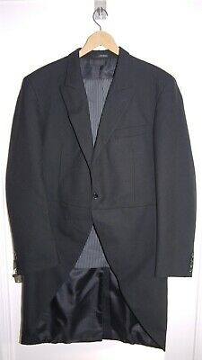 Moss Bros Wool Morning Suit Tail Coat~Black Coat~Striped Trousers~ Grey Vest~44L