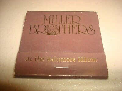 Rare Vintage Matches Miller Brothers Charles Center Baltimore Hilton MD USA!