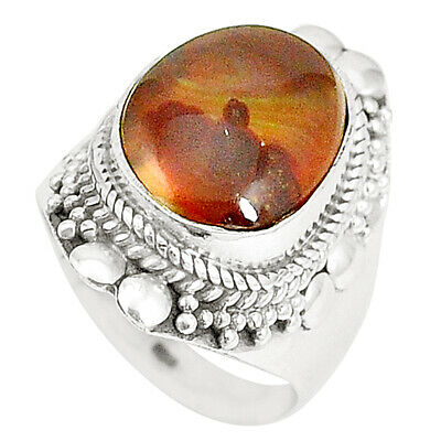 Natural Multi Color Mexican Fire Agate 925 Silver Ring Size 7 M34574