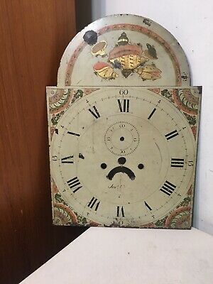 Antique Tall Case Clock Face Dial Folk Art Painted Decor Conch Shells Flowers