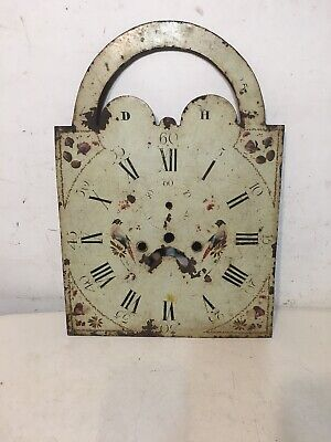 Antique Tall Case Clock Face Dial Folk Art Decorated Birds Blue Jays Flowers