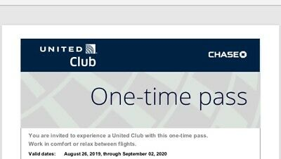 Two (2) United Airlines Club Lounge One-Time Pass EXP 09/02/20 E-mail delivery