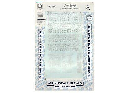 Microscale decals HO 87-70-1 RR gothic letters numbers white    G83
