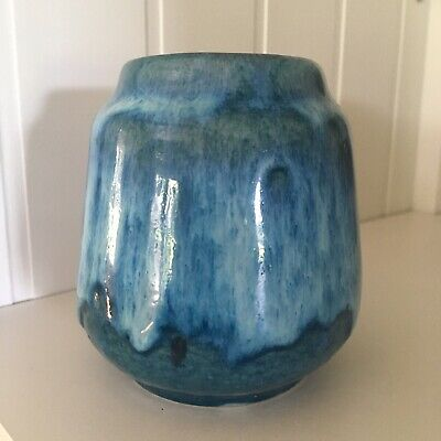 Vintage Vase West Germany Blue Green Drip Glaze Pottery Marked 552