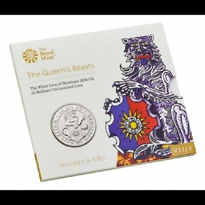 2020 The Queen's Beasts The White Lion Uk £5 Coin Brilliant Uncirculated