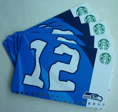 5 -  STARBUCKS CARDS SEATTLE SEAHAWKS 12 th FLAG 2019 #6169 FAN MAN NO VALUE