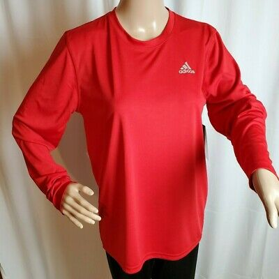 Adidas Girls Red Athletic Climalite XL Long Sleeve Tee Short