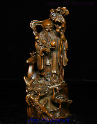 "7"" Old Chinese Boxwood Wood Carved Longevity Crane Deer Immortal Shou God Statue"