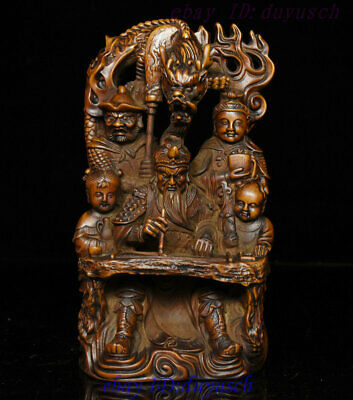 Old Chinese Boxwood Wood Carved Dragon Warrior Guan Gong Yu God Retinue Statue