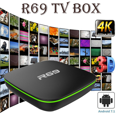 R69 Quad Core Smart TV Box Android 7.1 WIFI H.265 4K 3D Movies 1+8G Media Player