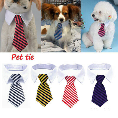 Cute Dog Cat Striped Bow Tie Collar Pet Puppy Adjustable Neck Tie For Party S/L