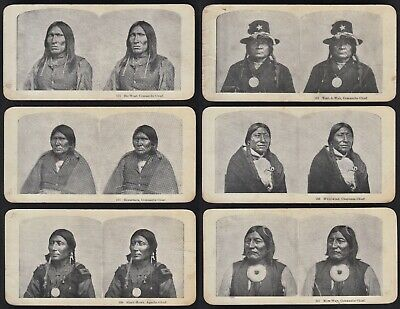 SET/6 STEREOVIEW PHOTOS OF NATIVE AMERICAN INDIAN CHIEFS, CIRCA 1890s