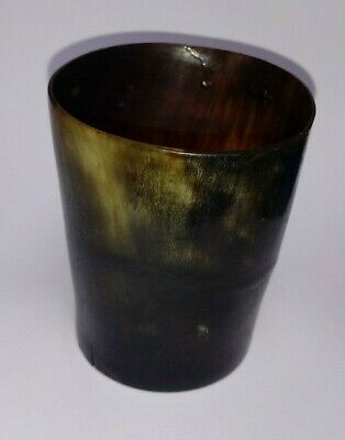 Antique Welsh turned COW HORN BEAKER