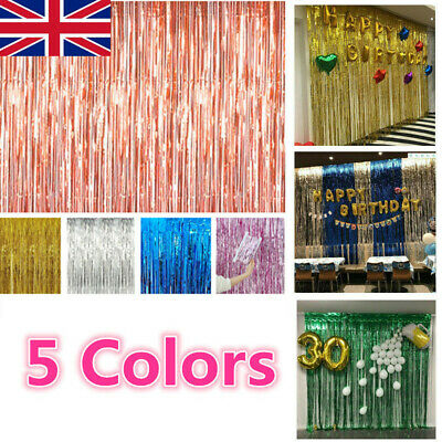 200/300cm Foil Fringe Tinsel Shimmer Curtain Door Wedding Birthday Party Decor P