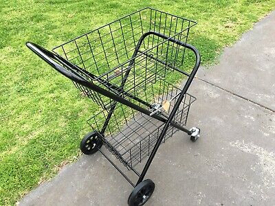 2 Tier Shopping Trolley Double Basket Swivel Wheel Collapsible Tennis Ball Cart