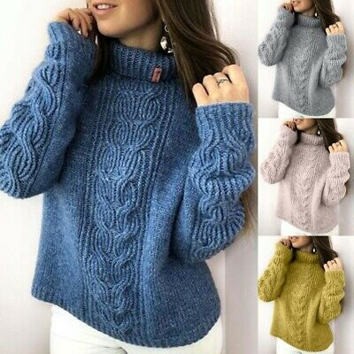 Women's High Collar Loose Tops Knit Warm Thick Sweater Solid Simple Soft Sweater