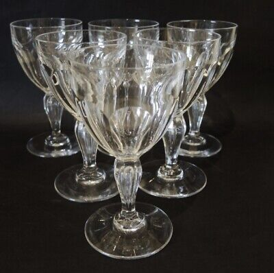 6 WW1 Antique Val St. Lambert / Holmegaard Poul Paul White Wine Glasses