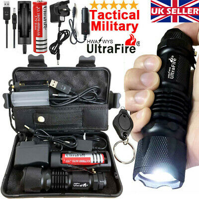 Zoom 90000LM Ultrafire Tactical Military CREE T6 LED Flashlight Torch Work Light