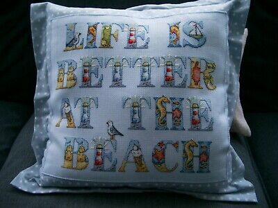 LIFE IS BETTER ON THE BEACH, completed cross stitch cushion