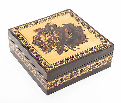 An Victorian Antique Tunbridge Ware Rose Inlaid Box attb. to Thomas Barton