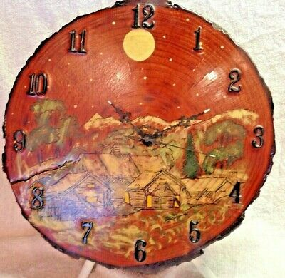 Hand Painted Wood Wall Clock Art Rustic Decor Slab Quartz Movement Vintage