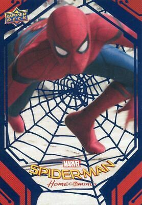 Spiderman Homecoming Blue Foil [99] Base Card #50 Climbing to the Top