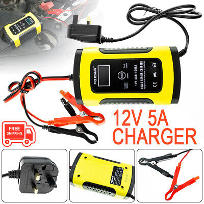 12V 5A LCD Automatic Intelligent Motorcycle Car Battery Charger Pulse Repair GEL