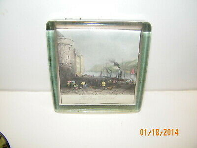 """Glass 4"""" x 4"""" PaperWeight Showing """"The Quay, Waterford"""" Lady Clare"""