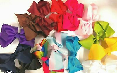 Girl 6 Inch Big Bows Boutique Hair Clip Pin Alligator Clips Grosgrain Ribbon Bow