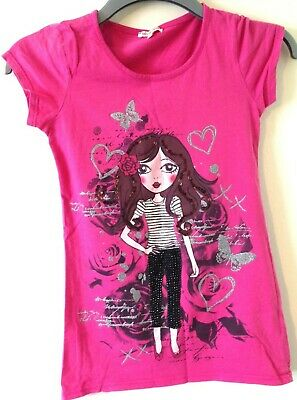 Pre Loved Debenhams Bluezoo T-Shirt Girls Age 13 Years Pink Fitted Cotton Silver
